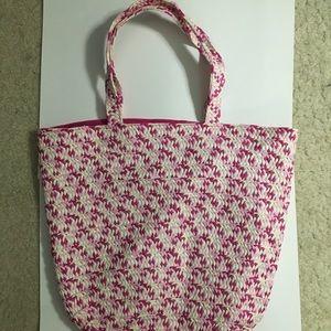 Pink and White Medium Tote Bag
